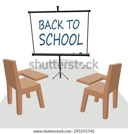 projector screen with words back to school  - stock vector