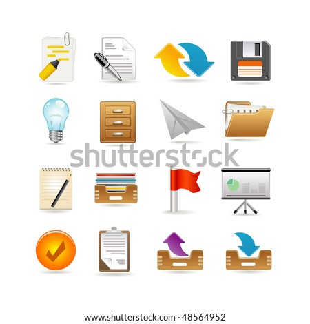 Projects and documents icons - stock vector
