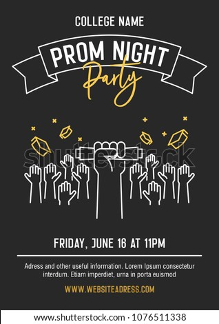 Prom night party invitation card hands stock vector 1076511338 prom night party invitation card with hands raised throwing academic hats up and showing diplomas stopboris Image collections
