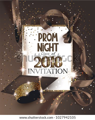 Prom night 2018 hat ribbon golden stock vector 1027942105 prom night 2018 with hat ribbon golden frame and confetti vector illustration stopboris Image collections