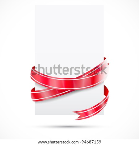 Promo tag. Red ribbon - stock vector