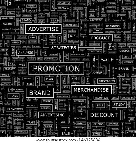 PROMOTION. Concept vector illustration. Word cloud with related tags and terms. Graphic tag collection. Wordcloud collage.