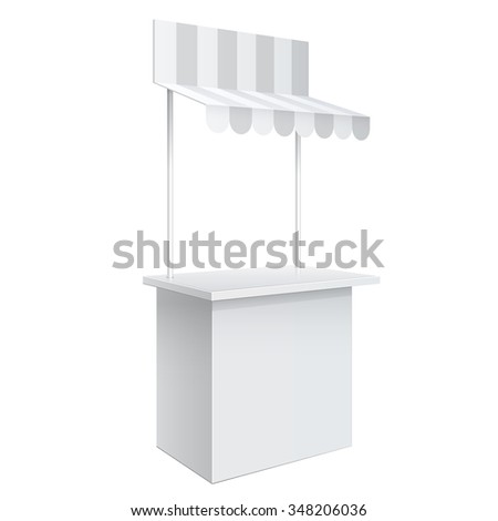 Promotion counter on wheels and a roof covered with striped awning, Retail Trade Stand Isolated on the white background. MockUp Template For Your Design. Vector illustration. - stock vector