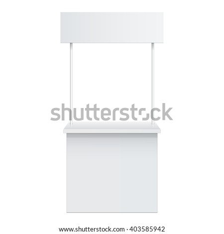 Promotion counter, Retail Trade Stand Isolated on the white background. MockUp Template For Your Design. Vector illustration.