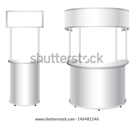 Promotion counter set. Trade stand.  Blank vector poster isolated on a white background  - stock vector