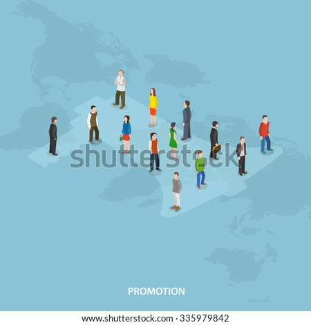 Promotion flat isometric vector concept. People stay on silhouette of loudspeaker. Media marketing, advertising, announcement. - stock vector