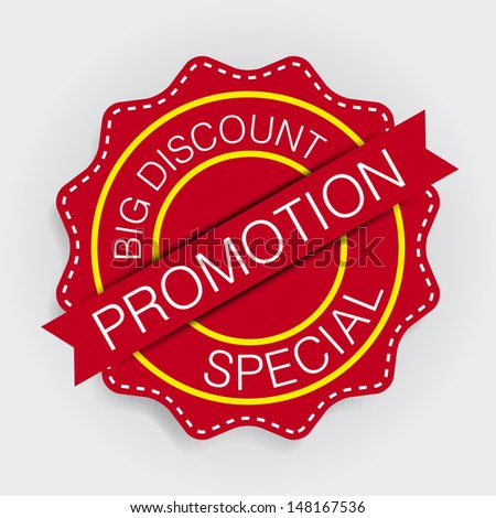 Promotion lebel red - stock vector