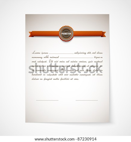 Promotion Letter Paper| EPS10 Compatibility Required - stock vector