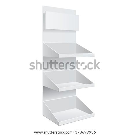 Promotion shelf. Retail Trade Stand Isolated on the white background. Slender white shelves. Mock Up Template. Vector illustration. - stock vector