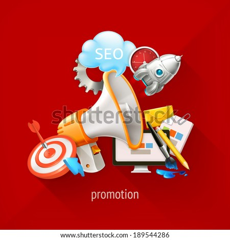 Promotional and marketing technologies, vector illustration on a red background - stock vector