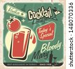 Promotional retro poster design for one of the most popular cocktails Bloody Mary. Food and drink concept on scratched old textured paper. - stock vector