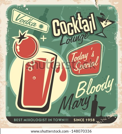 Promotional retro poster design for one of the most popular cocktails Bloody Mary. Vintage cocktail bar design with special daily offer. Food and drink concept on scratched old textured paper. - stock vector