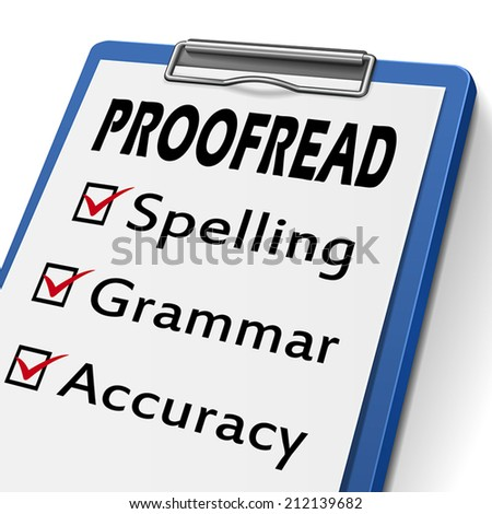 proofread clipboard with check boxes marked for spelling, grammar and accuracy
