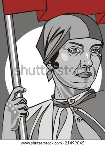 Propaganda poster of the former USSR, woman is a builder of socialism, vector illustration - stock vector