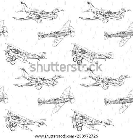 Propeller airplanes vector drawings seamless pattern - stock vector