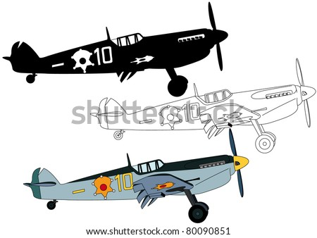 Propeller fighter plane from World War II - stock vector