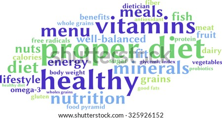 Proper Diet word cloud on a white background.