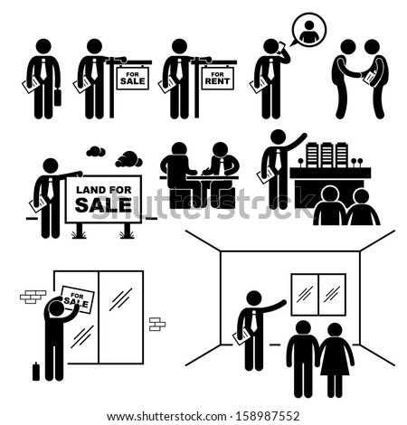 Property Agent Real Estate Client Customer Stick Figure Pictogram Icon - stock vector