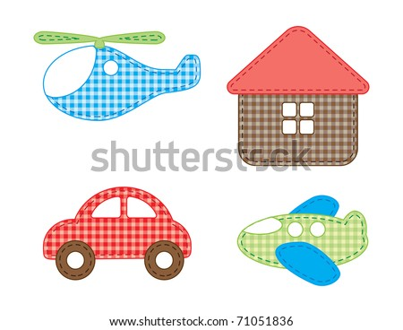 Property icon set. Illustration from rags - stock vector
