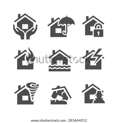 Property insurance icons. Home protections and insurance risks. Vector illustration. Simplus series - stock vector