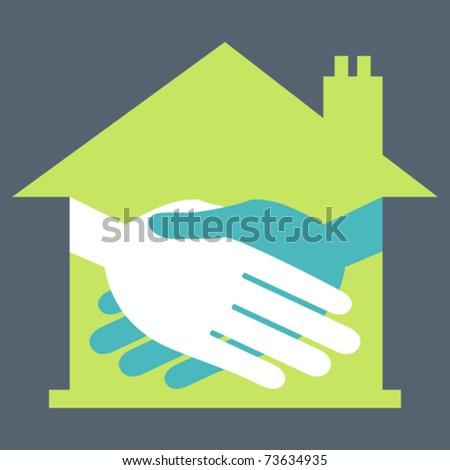 Property or real estate handshake design. - stock vector
