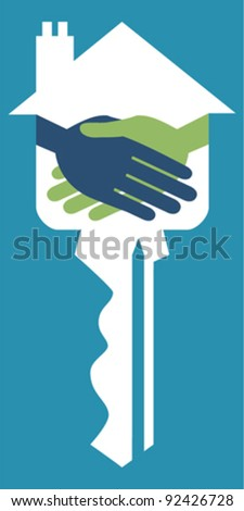 Property or real estate key handshake design. - stock vector