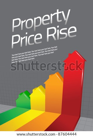 Property Price Rise Graph - stock vector