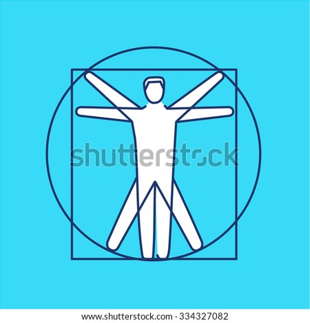 Proportion of human body black and white linear icon on blue background | flat design alternative healing illustration and infographic - stock vector