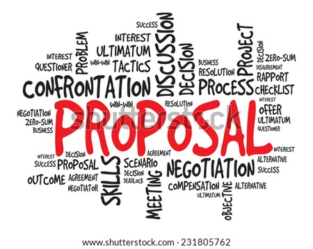 Proposal Business & finance related word cloud, presentation background - stock vector