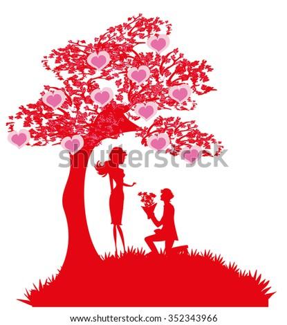 proposal wedding - couple silhouette  - stock vector