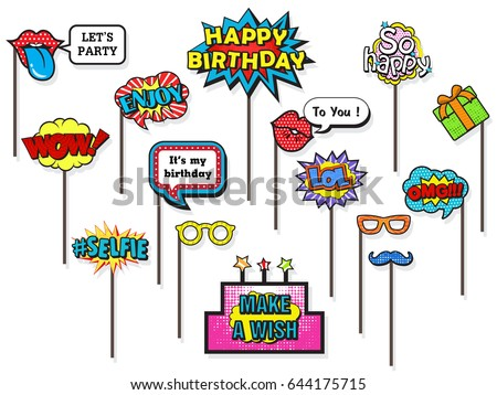 Props Photos Booth On Happy Birthday Stock Vector 644175715 ...