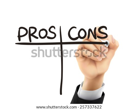 pros and cons words written by hand on a transparent board - stock vector