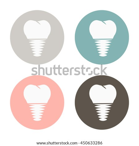 prosthesis screw tooth human anatomical vector icon. dental implant. vector medical illustration.