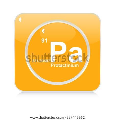 protactinium chemical element button - stock vector