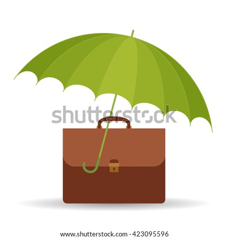Protect business symbol. Vector flat illustration of umbrella and business case. Assurance infographic design element for web, internet, print, presentation, brochure, social networks. - stock vector