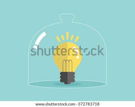 Protect Idea copyright Insurance intellectual. Flat design for business financial marketing banking advertisement office people life property stock fund in minimal concept cartoon illustration.