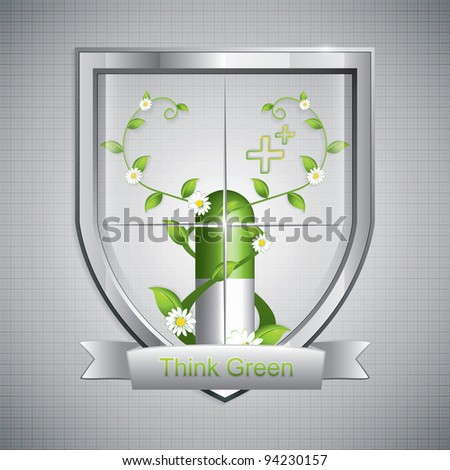 Protect natural herbal pills - Think green - stock vector