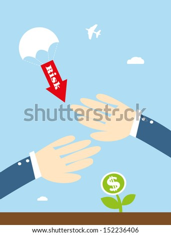 Protect seedling money from risk  ,Vector cartoon business - stock vector