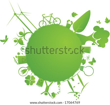 protect the Earth : vector illustration of environmental elements and logo - stock vector
