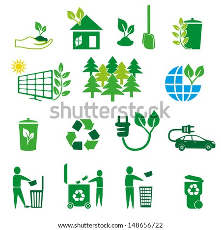 Protect the environment illustration. Set of logo - ecology green leaves - stock vector