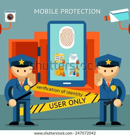 Protect your cell phone, fingerprint, only to owner. Financial security and data confidentiality - stock vector