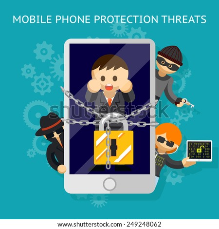 Protect your mobile from the threat. Protection against hacker attacks. Vector illustration - stock vector