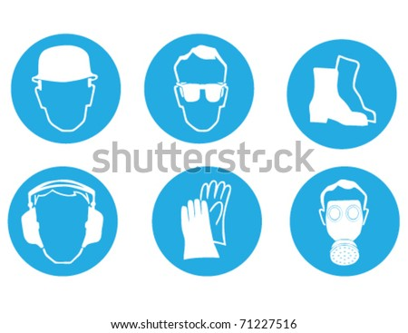 protection at work signs - stock vector