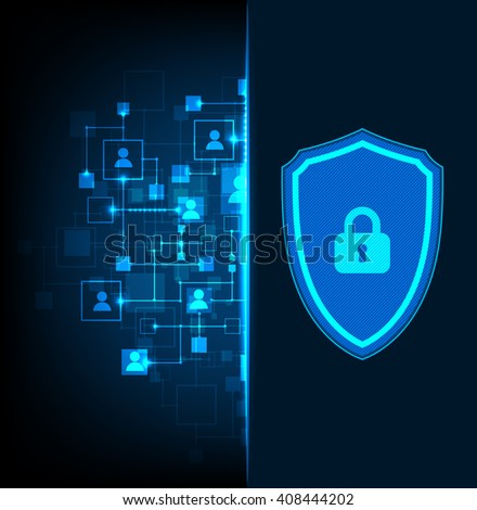 Protection background. Technology security, encode and decrypt, techno scheme, vector illustration - stock vector