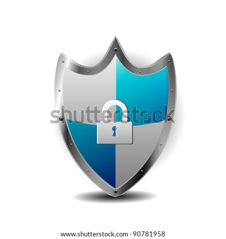 Protection Blue Shield with locker - stock vector