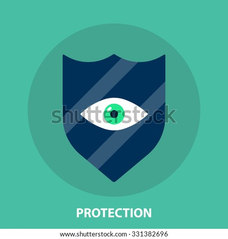 Protection,keeping information,safety,defence,secure,detection of threats,shield,eye flat style icon,modern style concept for apps and web design - stock vector