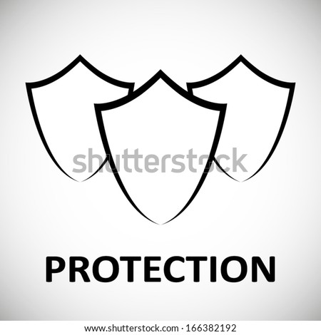 Protection shield modern concept design poster isolated on white - stock vector