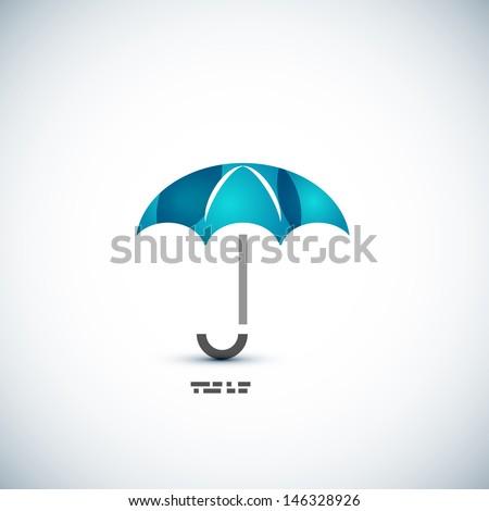 Protection umbrella icon concept - stock vector