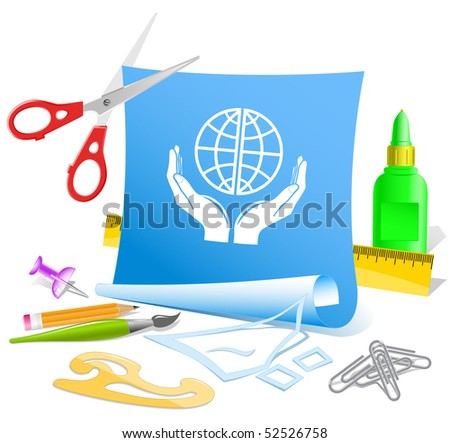 Protection world. Vector paper template. - stock vector