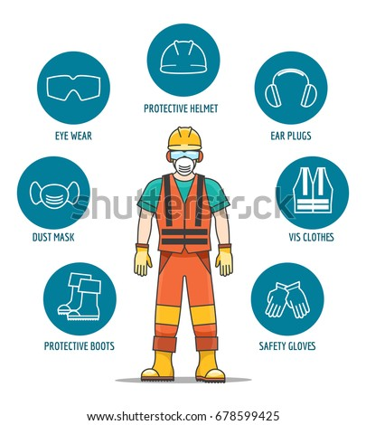 Protective Safety Equipment Ppe Vector Illustration